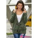 Army Green Fur Hood Horn Button Sweater Cardigan
