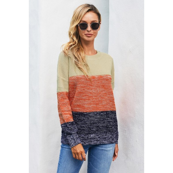 Blue Color Block Netted Texture Pullover Sweater