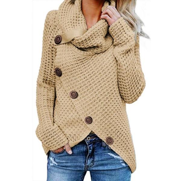 Beige Buttoned Wrap Turtleneck Sweater