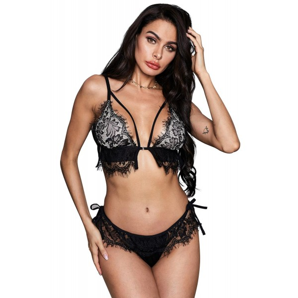 Black Eyelash Trim Lace Bralette Set