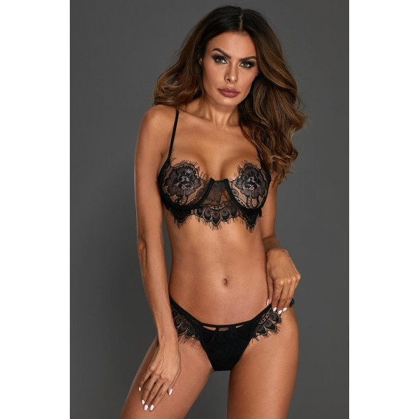 Black Eyelash Lace 2pcs Lingerie Set
