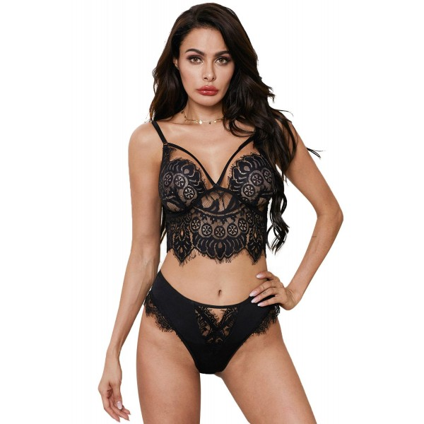 Black Eyelash Lace Bralette Lingerie Set