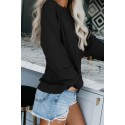 Black French Terry Cotton Blend Pullover Sweatshirt