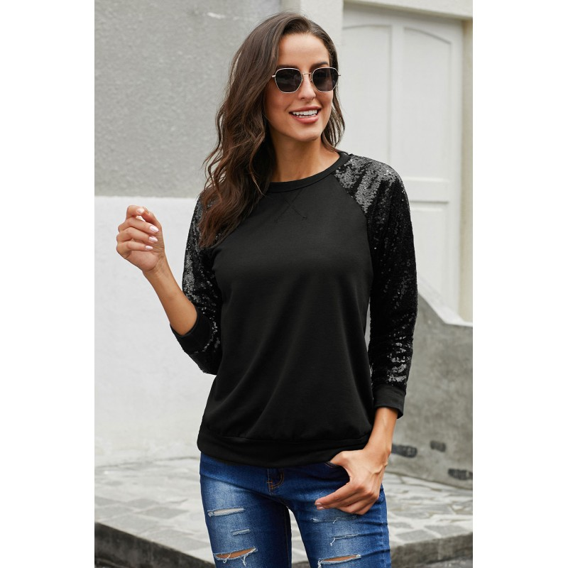 Black Gotta Have It Sequin Knit Top