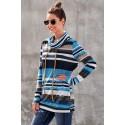 Blue Multicolor Cowl Neck Striped Long Sleeve Sweatshirt