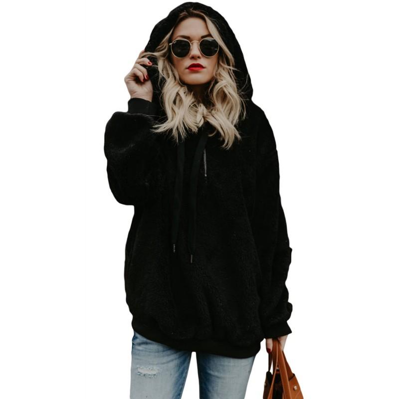 Black Warm Furry Pullover Hoodie