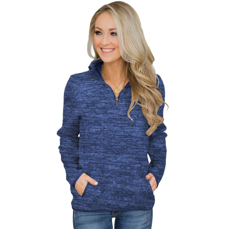 Blue Quarter Zip Pullover Sweatshirt