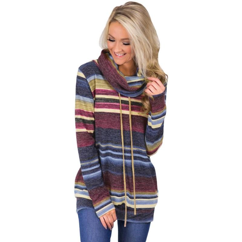 Blue Multicolor Cowl Neck Striped Sweatshirt