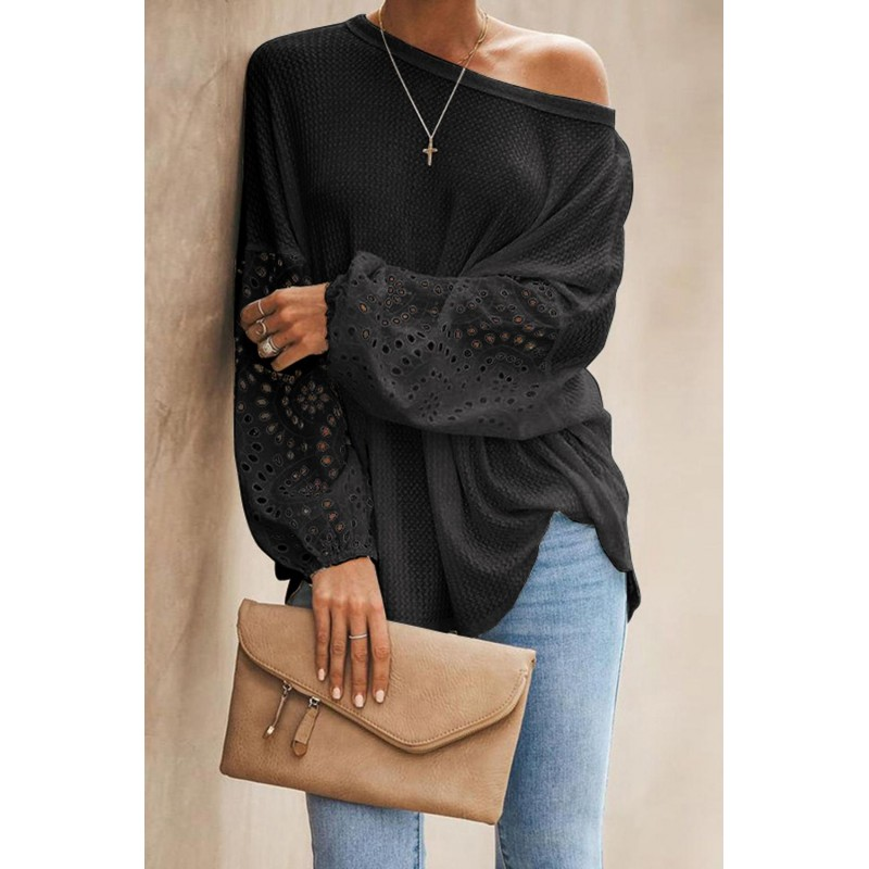 Black Loose Casual Puffy Sleeve Top