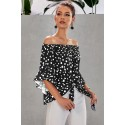 Black Polka Dot 3/4 Bell Sleeve Off Shoulder Front Tie Knot Top
