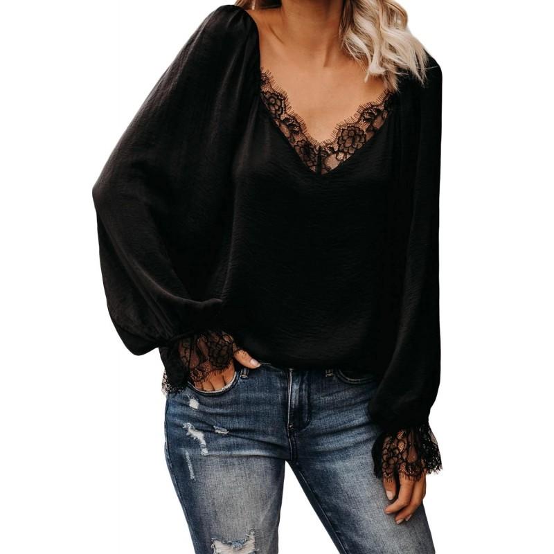 Black Satin Lace Blouse