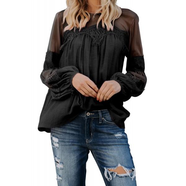 Black Fashion Lantern-Sleeve Lace Patchwork Top