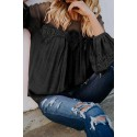 Black Fashion Lantern-Sleeve Lace Patchwork Top