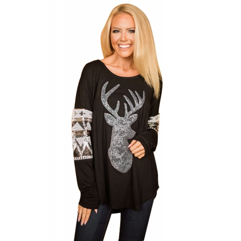 Black Loose Sequin Christmas Reindeer Top
