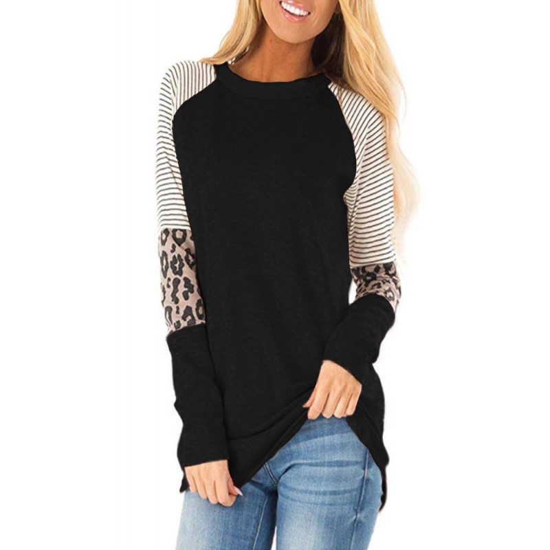 Black Striped and Leopard Color Block Sleeves Top