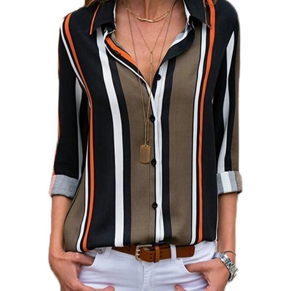 Black Brown Striped Modern Women Shirt