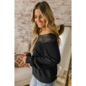 Black Lace Detail Boatneck Pullover Blouse