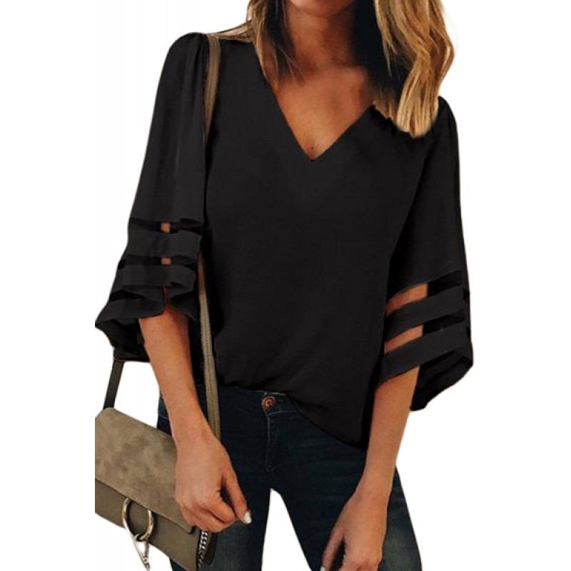 Black Flare Sleeve V Neck Loose Blouse