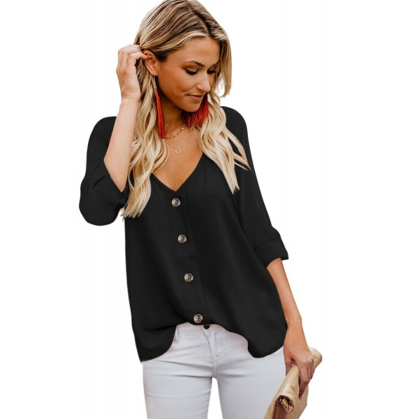 Black Button Detail Roll up Sleeve Blouse