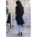 Black Chic High Low Kimono Top