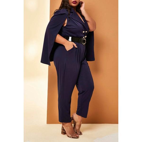 Lovely Casual Cloak Design Dark Blue Plus Size One-piece Jumpsuit