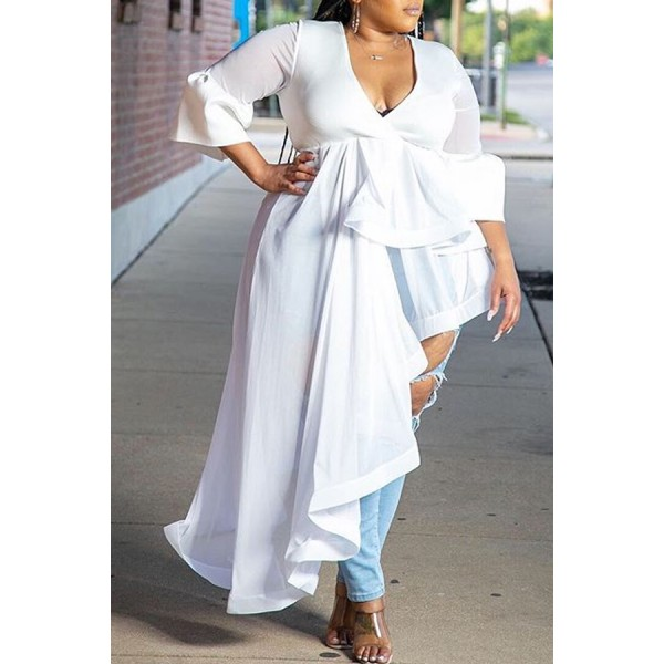 Lovely Casual Asymmetrical White Plus Size Blouse