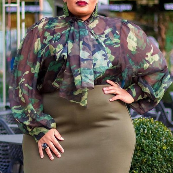 Lovely Casual Camo Print Army Green Plus Size Blouse