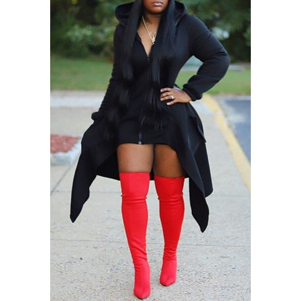 Lovely Casual Asymmetrical Black Hoodie