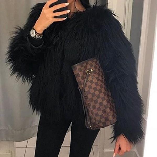 Lovely  Casual Long Sleeves Black Faux Fur Coat