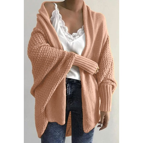 Lovely Batwing Sleeve Army Pink Cardigan