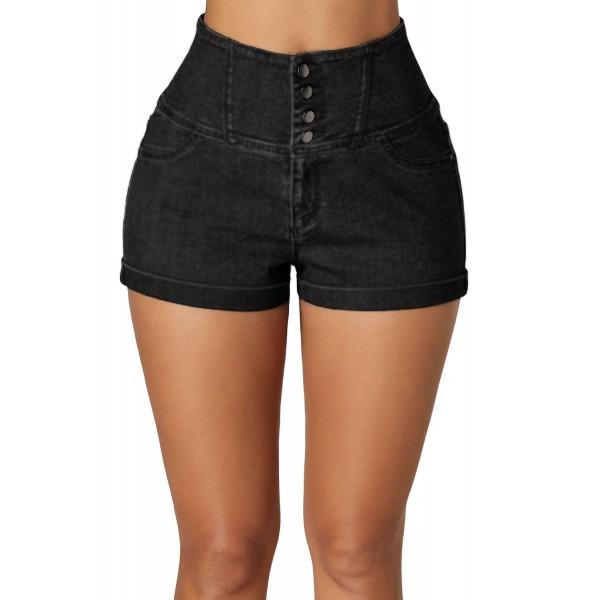 Black Buttoned High Waist Short Jeans