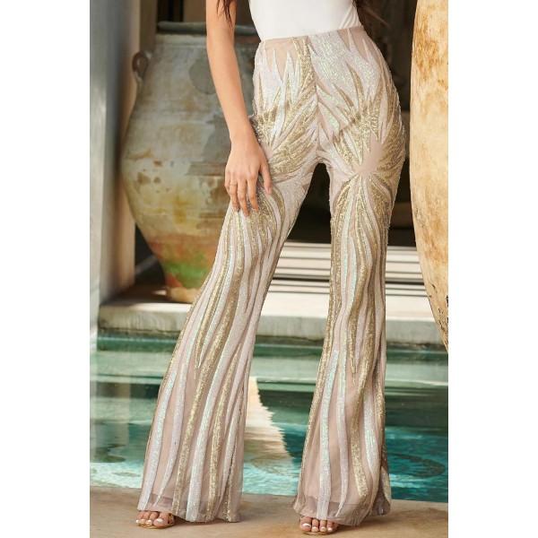 Apricot Sunburst Sequin Kick Flare Trousers