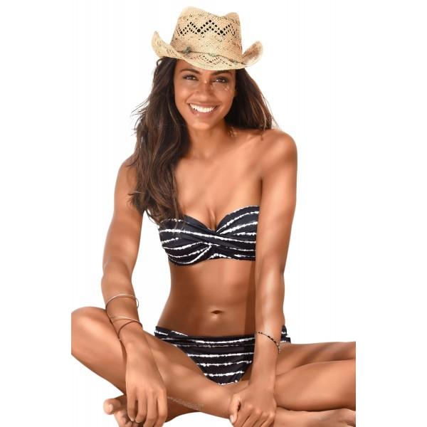 Black Boho Stripes Push up Bikini Set